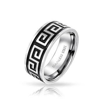 Mens Greek Key Black Flat Wedding Band Ring Black Stainless Steel 8MM