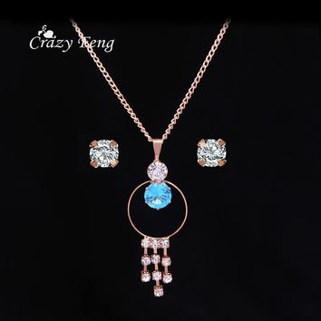 2017 Wholesale Trendy Jewelry Set Rose Gold-color Crystal Tassel Pendant Necklace Earrings CZ Costume Jewelry Sets Women Bijoux