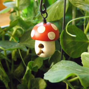 Miniature mushroom bird house - fairy garden bird house -garden gnome bird house - woodland hanging bird house - garden gnome bird house