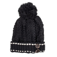 Black Michelle Knitted White Stitch Beanie
