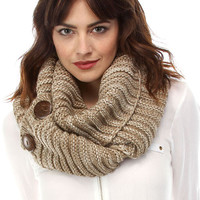 True Button Knit Infinity Scarf