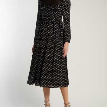 Polka dot-print silk dress | Valentino | MATCHESFASHION.COM US
