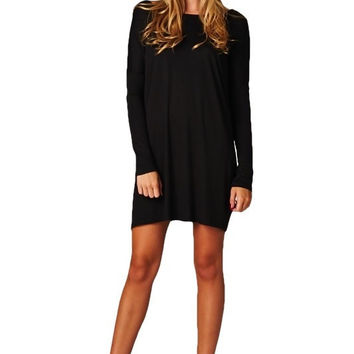 Walk This Way Oversized Tunic Dress - Black RESTOCKED!