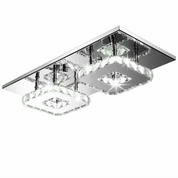 Modern Crystal LED Ceiling lamp  Steel chandelier Decor Perfect for Hallway Stairway Bedroom Dining Room illumination85v-260v