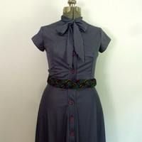 Vintage Pinstriped Ascot Dress 1970s by rileybella123 on Etsy