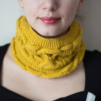 Knitted Neck Warmer, Knitted Scarf, 2 in 1 Hat and Neck Warmer, 2 in 1 Neck Warmer and Hat, Yellow Neck Warmer, Knit Neck Warmer, Knit Scarf