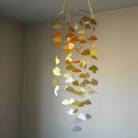 Shades of yellow cloud mobile with a hint of gold sparkle. Baby Nursery mobile, Crib mobile, Baby mobile, BabyShower, Choose Your Colors!