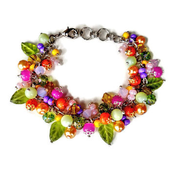 Unique Cluster Bracelet - Funky Bright Eclectic Style Colorful Charm Bracelet - Size Adjustable