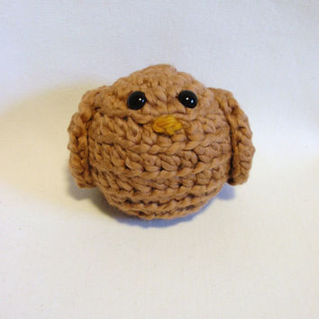 Handmade Children Baby BROWN Bird crocheted organic cotton, amigurumi , baby showers, nursery decor, pin cushion, get well gift