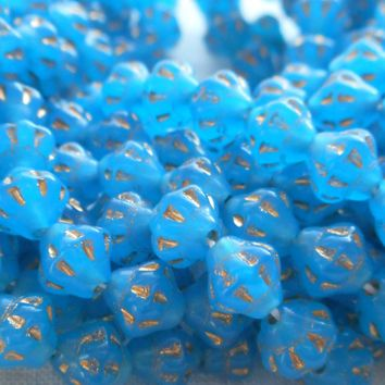 Lot of 25 small 5mm x 6mm saturn or saucer beads, Opaque milky blue with gold accents, Czech glass spacer bead C7625