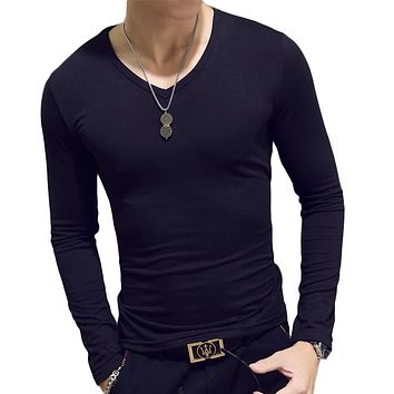 Spring Autumn Period Long Sleeve Cultivate One's Morality Men's T-shirt Sets O-neck Solid