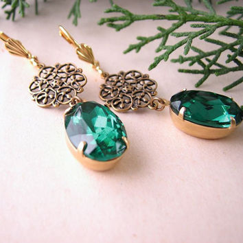 Holiday jewelry EMERALD CHRISTMAS earrings by shadowjewels on Etsy