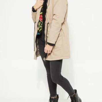 Quilted Longline Black Anorak