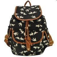 Lady Swallow Print Drawstring Flap Bag Canvas Backpack