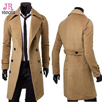 VDOGRIR Autumn Winter New Coat For Men Khaki Double Breasted Wool&Blends Long Full Sleeves Coats For Male M-3XL Plus Size