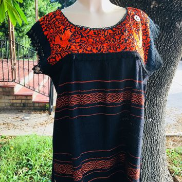 Mexican Oaxaca Blouse Floral Orange Embroidery Black