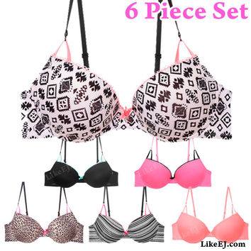 6pcs of Mixed solid and print Contrasting lace and bow Extreme Push-up Bra #70086