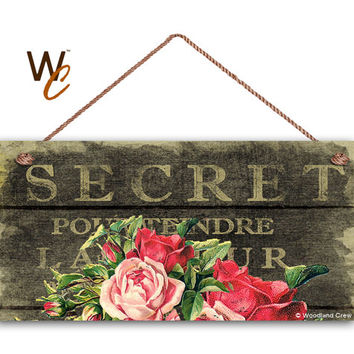 "French Market Sign, Vintage Paper and Roses, Shabby Chic Sign, Cottage Chic Decor, Weatherproof, 5"" x 10"" Sign, Rustic Sign 1, Made To Order"