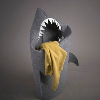 A Pointy-Toothed Shark-Shaped Laundry Basket