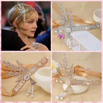 1pc Bridal Great Gatsby 1920s Hair Band Vintage Style Alloy Headpiece Pearls Charleston Party Wedding Headband WLL9027