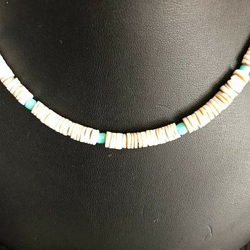 White Heishi and Turquoise Beaded Mens Necklace