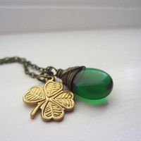 Green Lucky Shamrock Necklace Four Leaf Clover Charm by lcatlla