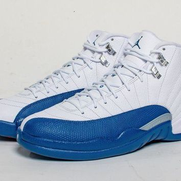 PEAPUX5 Air Jordan Retro 12 XII French Blue Grade School