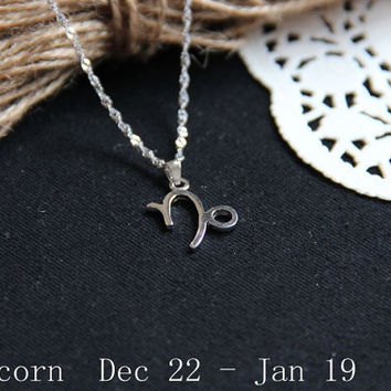 Sterling silver Capricorn Necklace, Zodiac Necklace, Petite Necklace, Simple Necklace, Everyday Necklace, Tiny Necklace, Dainty Jewelry