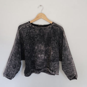 Acid wash vintage sweater crew neck pull over tie dye oversized sweatshirt grunge boho hippie festival small medium