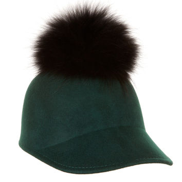 London Cap Green with Black Fur Pom Pom