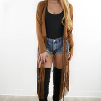 Desert Kingdom Camel Suede Cropped Jacket With Long Fringe Details