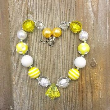 Yellow White Chunky Necklace