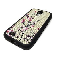 Samsung Galaxy S4 SIV Case Cover Skin Cherry Blossom Tree Flower Dictionary Christmas Hipster Design Black Rubber Silicone Teen Gift Vintage Hipster Fashion Design Art Print Cell Phone Accessories