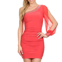 One Shoulder Chiffon Lace Dress - CORAL - Reg Size - 1X