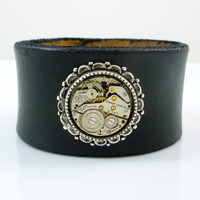 Steampunk Leather Bracelet with Vintage Watch Movement nested in Filigree Setting by Victorian Folly