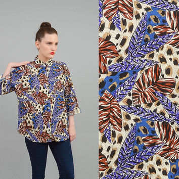 Vintage 80s Leopard Abstract Shirt Jungle Leaf Animal Print Top 1980s Button Up Shirt Small Medium S M