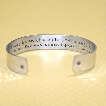 Sherlock Holmes Secret Message Custom Hand Stamped Aluminum Cuff Bracelet by Korena Loves