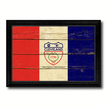 Cleveland City Ohio State Vintage Flag Canvas Print Black Picture Frame