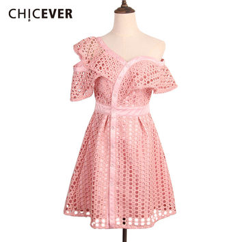 CHICEVER 2017 Summer Women's Tunic Short Party A Line Lace Mini Dresses Famale Cute Hollow Clothes Off Shoulder Asymmetrical