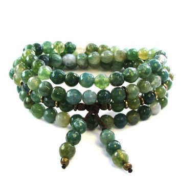 """Abundance"" 108 Bead Mala Bracelet or Necklace, Moss Agate"