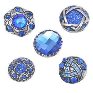 5PCs Antique Silver Blue Rhinestone Snap Buttons