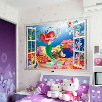 1424& the little mermaid wall stickers for kids girls rooms living room bedroom home decor diy 3d window scenery wall decal