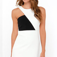 Notched What It Seems Black and Ivory Dress