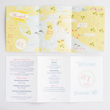 Wedding Map Invitation, Custom Wedding Map, Map Card, Wedding Map Gift, Wedding Guest Book, Illustrated Map, CW Designs, Infographic Program