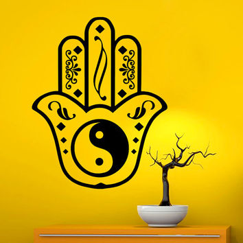 Fatima Hand Wall Decals Indian Pattern Hamsa Hand Yin Yang Amulet Mandala Interior Design Home Art Vinyl Decal Sticker Bedroom Decor MR384