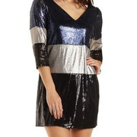 Sequin Color Block Shift Dress by Charlotte Russe