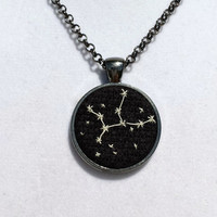 Miniature Embroidery Zodiac Constellation Necklace - Virgo