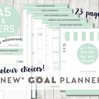 NEW* A5 & Personal GOAL Printable Planner Inserts -Filofax Kikki K- Habit tracker, Goal setting, Goal planner, Resolutions, Bucket list,etc.