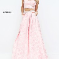 Two Piece Illusion Sweetheart Sherri Hill Prom Dress