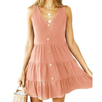 Fashion New  Solid Color Vest Dress Women Pink